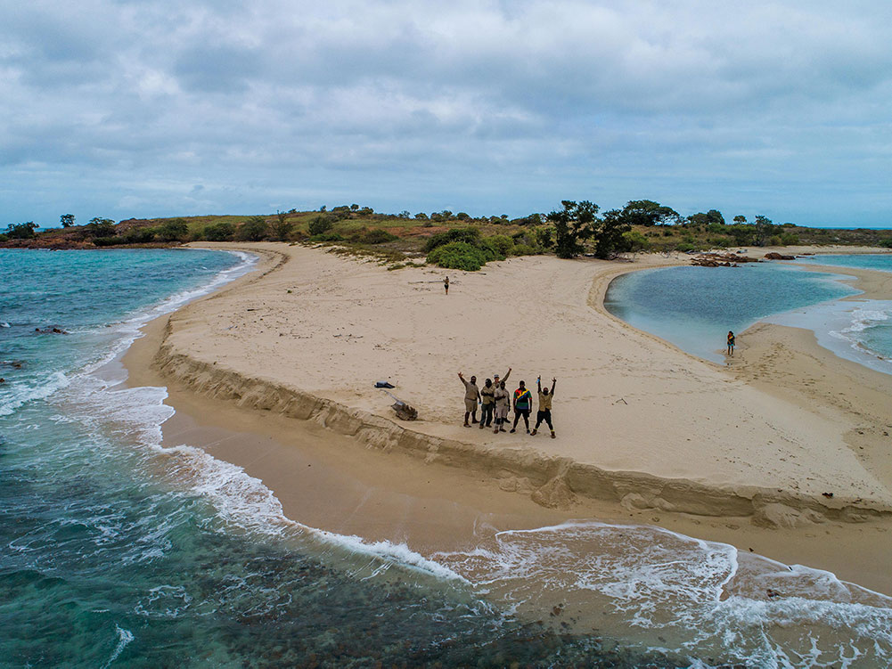 NPARC / Apudthama Rangers participating in the drone trial on Woody Wallis Island | PHOTO by Droner