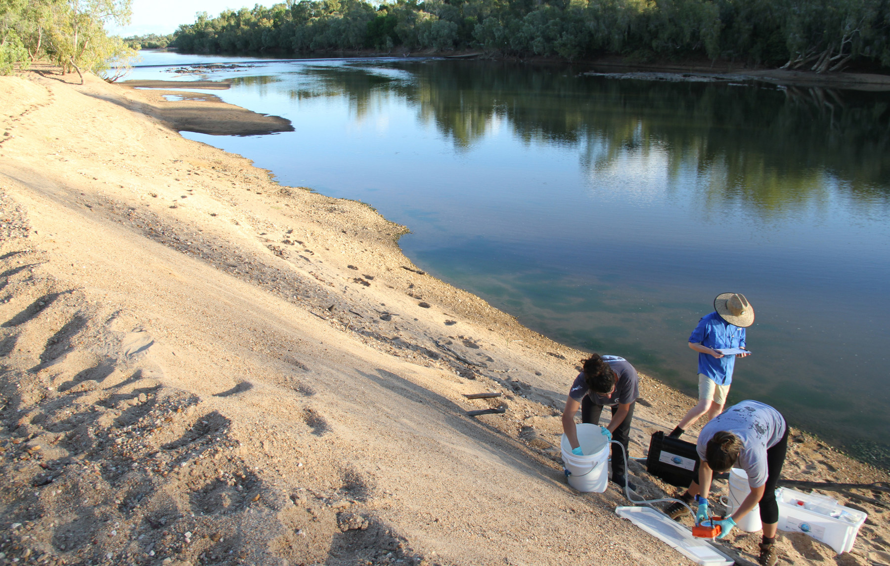 The SARA team samples the Mitchell River for sawfish eDNA | Image Barbara Wueringer (SARA)
